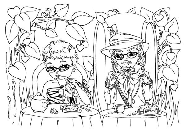 Picture of Mad Hatter and Alice Having Tea Party Coloring
