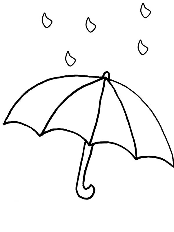 Raindrop and Umbrellah Coloring Page: Raindrop And Umbrellah