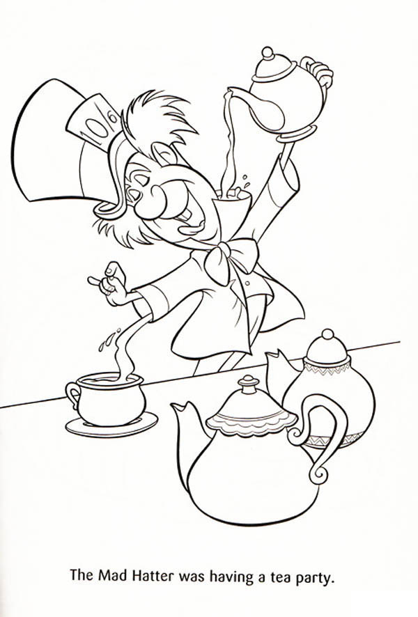 The Mad Hatter was Having a Tea Party Coloring Page