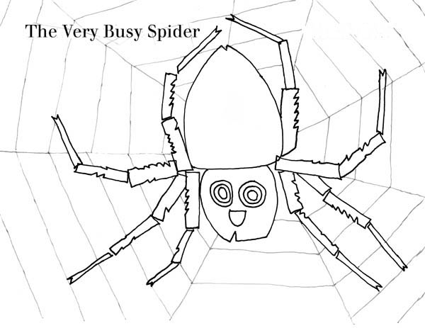 The Very Busy Spider Working on Spider Web Coloring Page