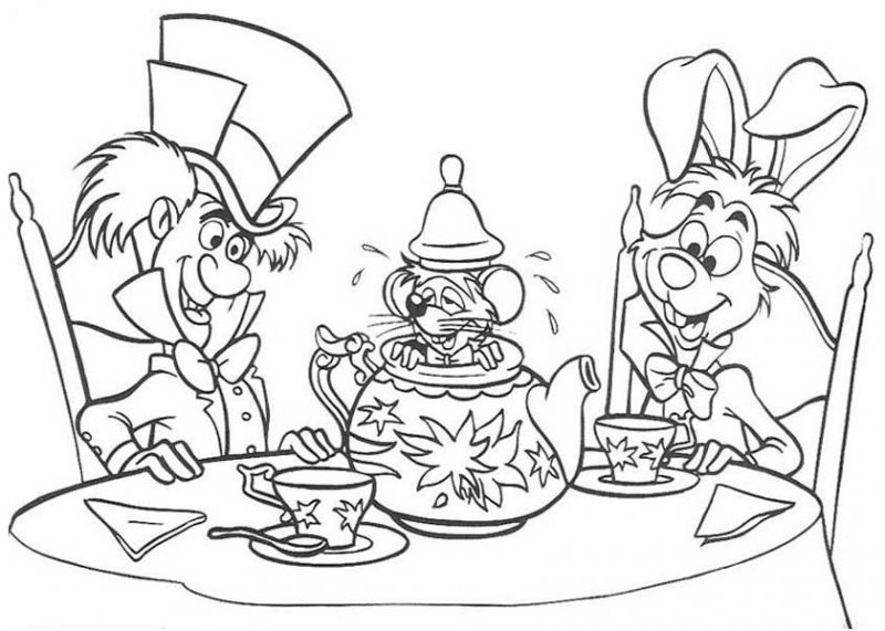 White Rabbit and Mad Hatter and Teapot Fill with Mouse