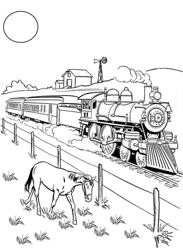 A Horse Eating Beside Railroad Coloring Page: A Horse