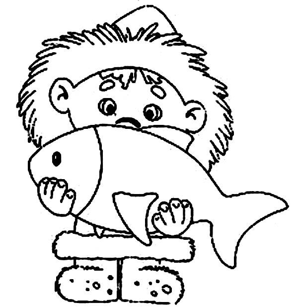 An Eskimo Boy and Big Fish Coloring Page: An Eskimo Boy