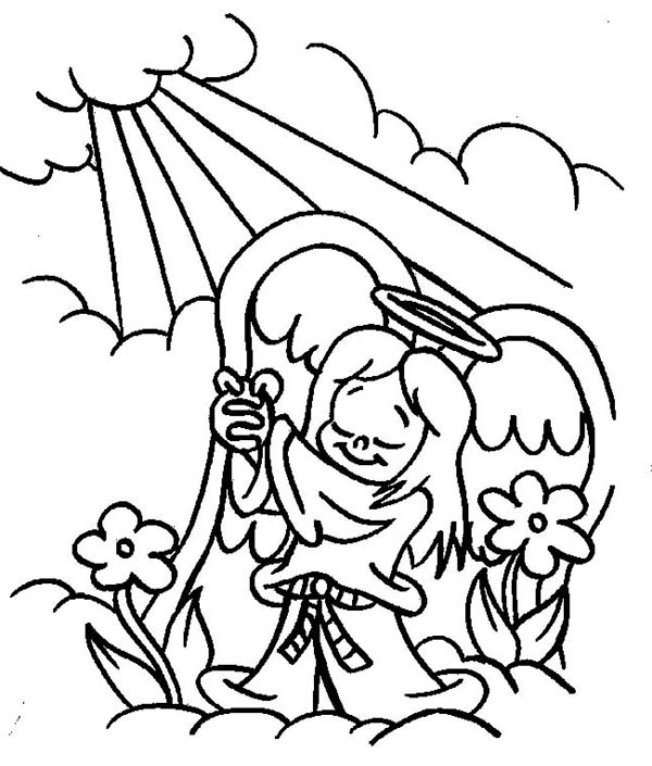 Angels Praise to the God Lord Coloring Page: Angels Praise
