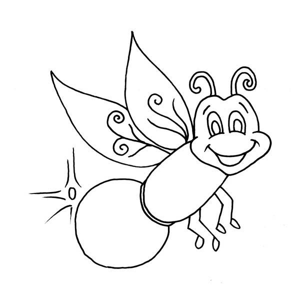 Beautiful Firefly Coloring Page: Beautiful Firefly