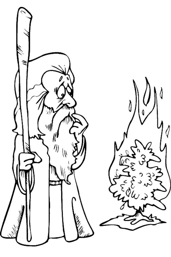 Cartoon of Moses Meet God in Form of Burning Bush Coloring