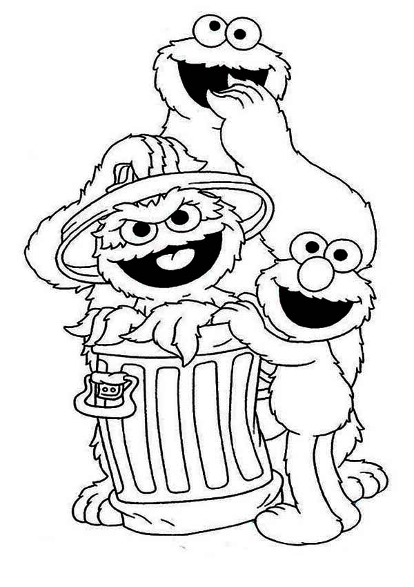 Cookie and Elmo with Oscar in Garbage Can in Sesame Street