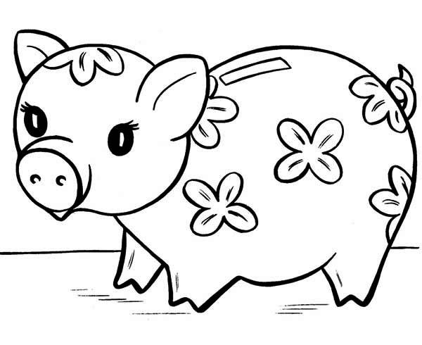 Cute Piggy Bank Coloring Page : Color Luna