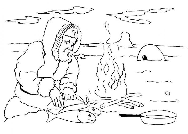 Eskimo Cooking Fish Coloring Page: Eskimo Cooking Fish