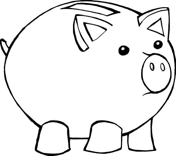 Fat Piggy Bank Coloring Page : Color Luna