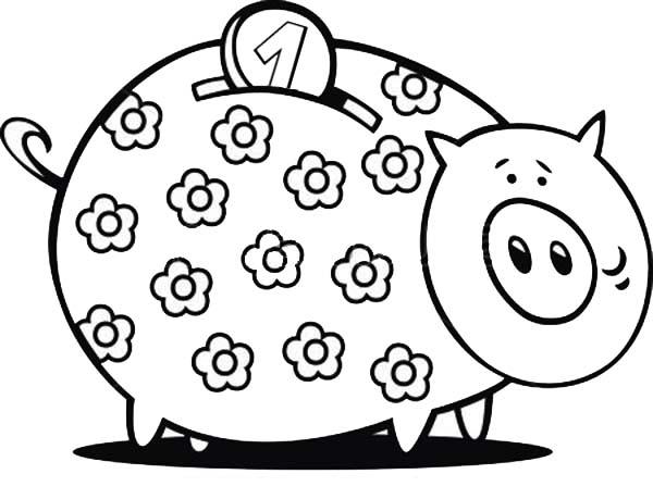 Floral Piggy Bank Coloring Page : Color Luna