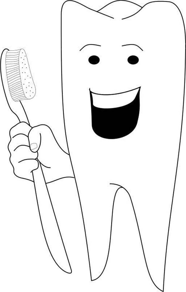 Happy Tooth in Dental Health Coloring Page: Happy Tooth in