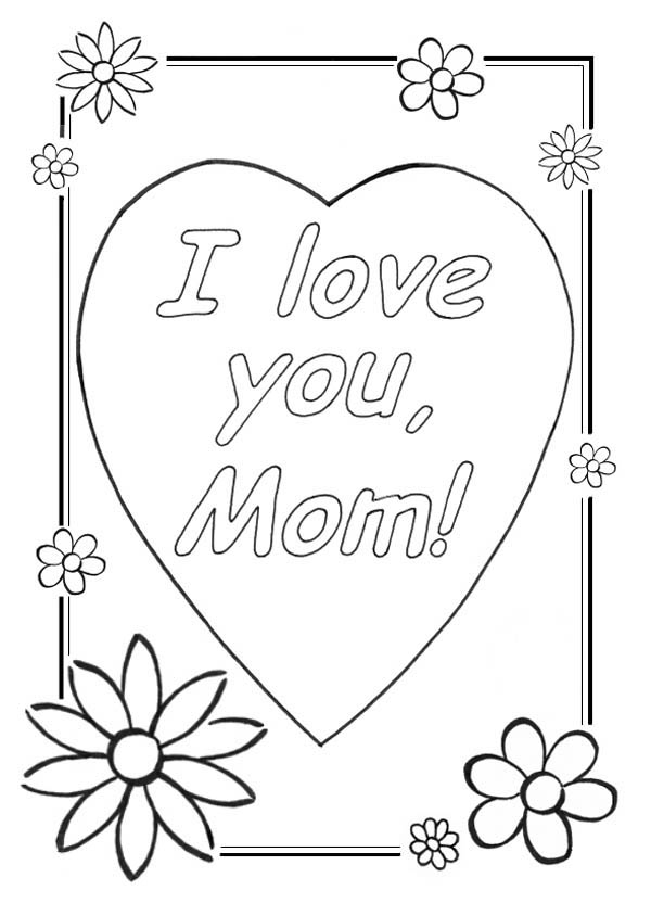Hearts and Roses Greeting Card Coloring Page: Hearts and