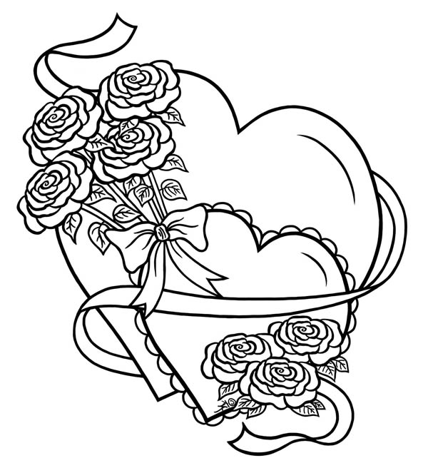 Hearts And Roses Tied With Ribbon Coloring Page : Color Luna