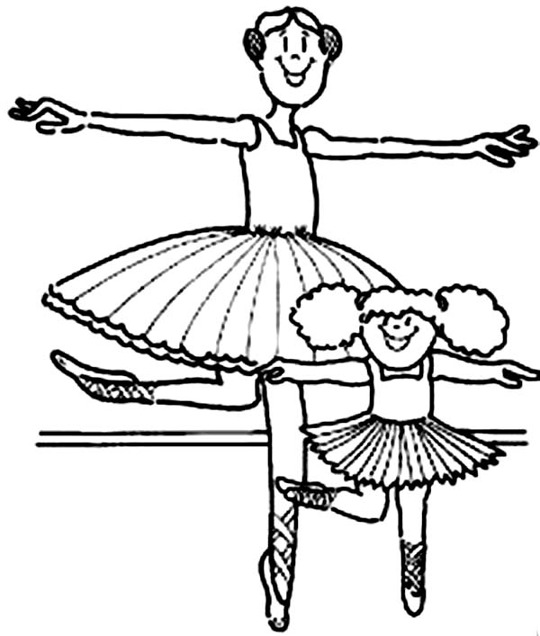 Kids Drawing of Ballerina Coloring Page: Kids Drawing of