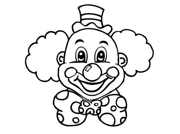 Laughing Clown Head Coloring Page: Laughing Clown Head