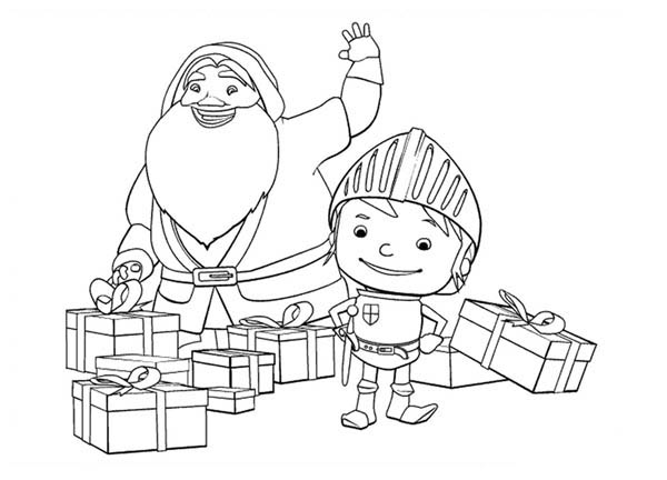 Santa Claus Coloring Page: Mike The Knight And Santa Claus