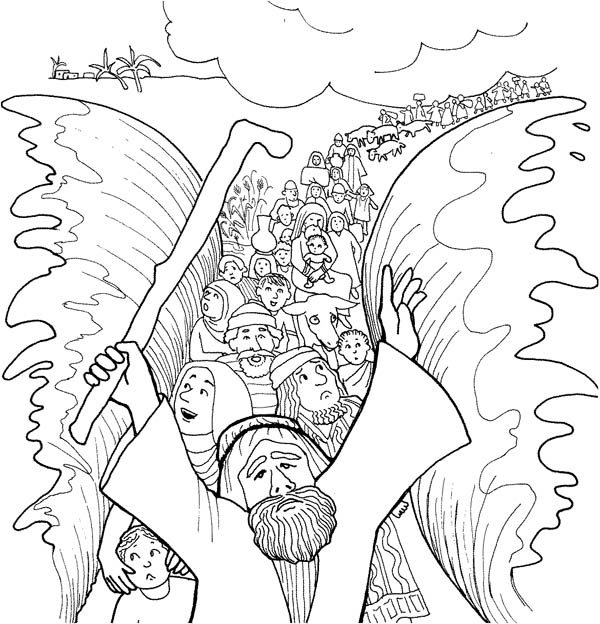 Moses and His People Passed Through Red Sea Coloring Page