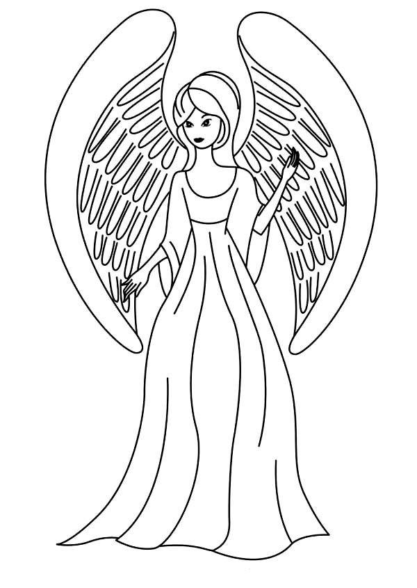 Picture of Beautiful Angels Coloring Page: Picture of