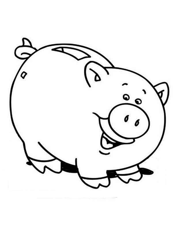 Piggy Bank Is Laughing Coloring Page : Color Luna