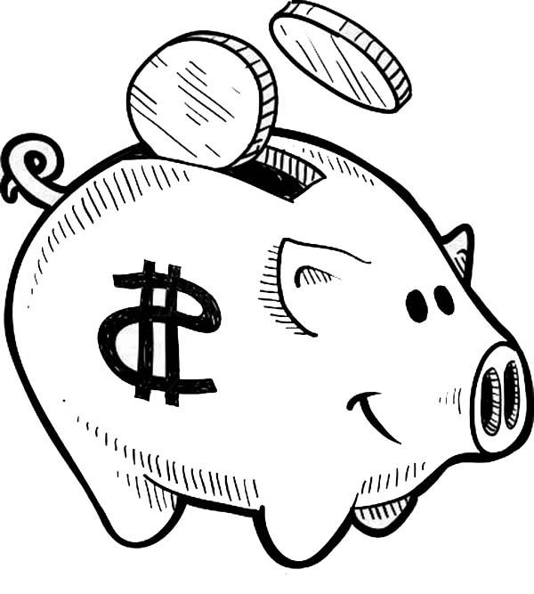 Put Your Coin Piggy Bank Coloring Page : Color Luna