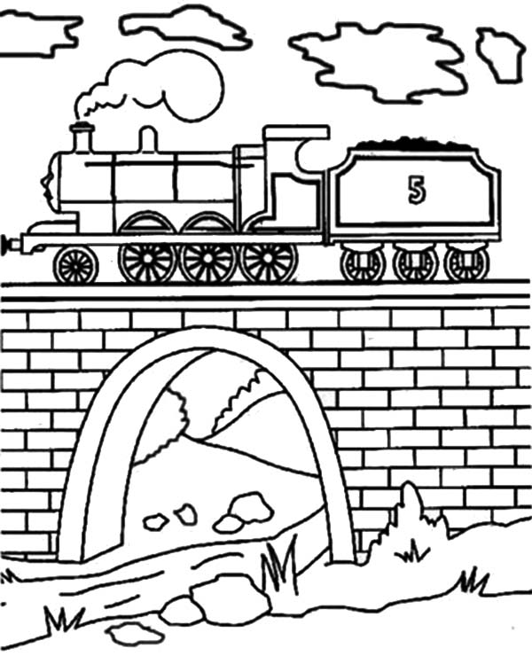 Railroad On The Bridge Coloring Page : Color Luna