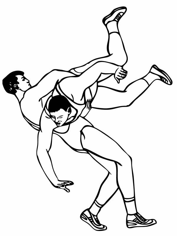 Roman Wrestling Style Coloring Page: Roman Wrestling Style
