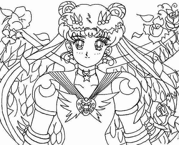 Sailor Moon Protecting Earth from Dark Kingdom Coloring