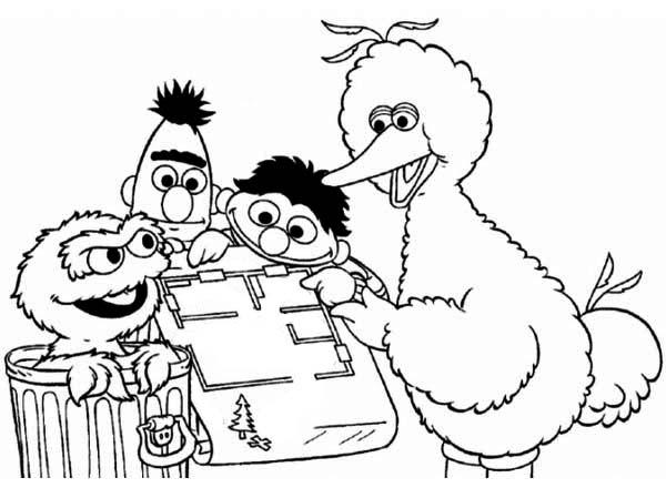 Sesame Street Playing Maze Coloring Page: Sesame Street