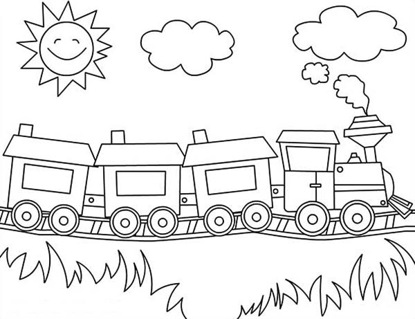 Sun Is Smiling Over A Train Coloring Page : Color Luna
