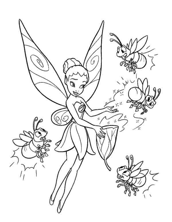 tinkerbell and four firefly coloring page  color luna