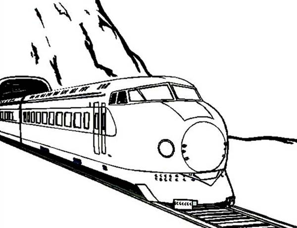 Train Came Out from a Tunnel Coloring Page: Train Came Out