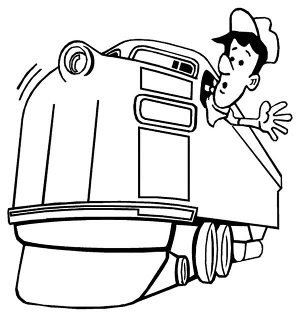 Train Engineer Looking For Railroad Coloring Page : Color Luna