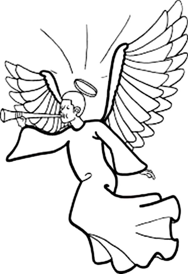 Winged Angels with Halo Blowing Trumpet Coloring Page