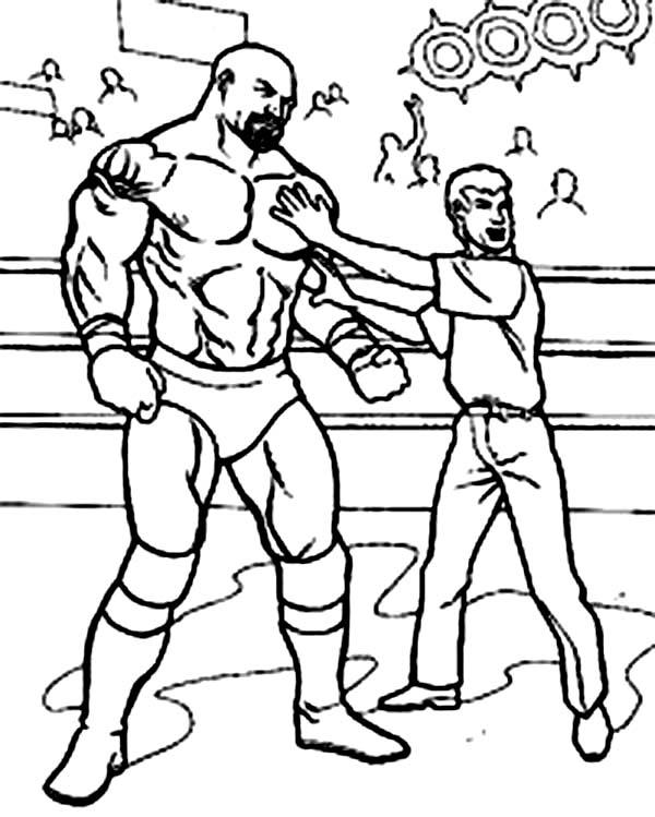 Wrestling Referee Cornered a Wrestler Coloring Page