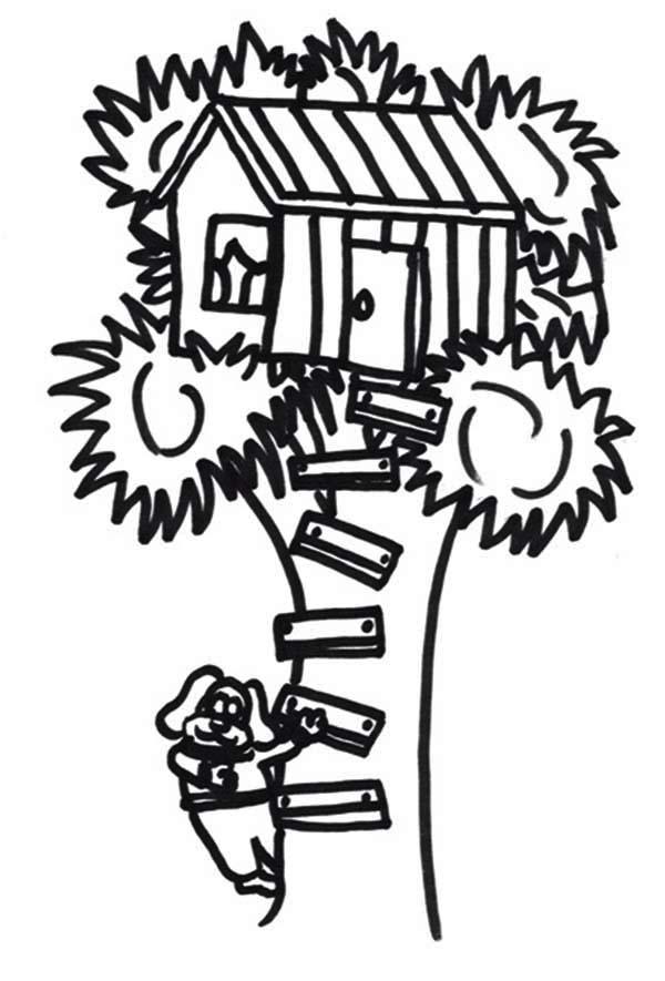 A Dog Climb a Treehouse Coloring Page: A Dog Climb a