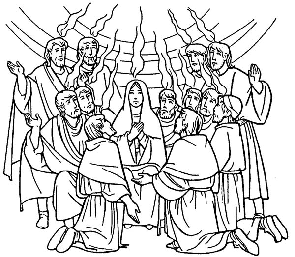 Celebrate Commerating of Holy Spirit in Pentecost Coloring
