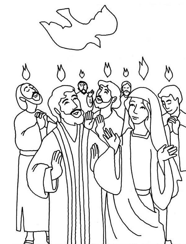 Everyone is Praise Pentecost Day Coloring Page: Everyone