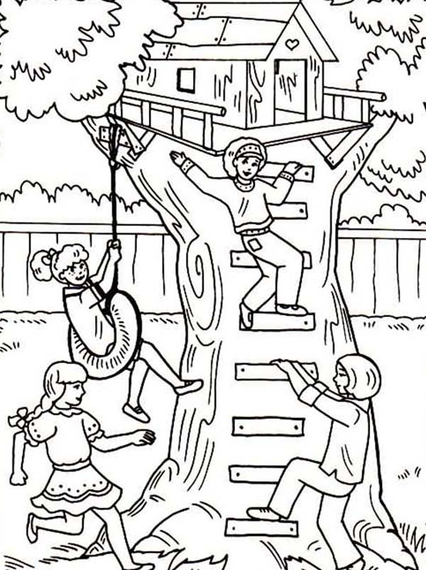Four Girl Having Fun with Their Treehouse Coloring Page