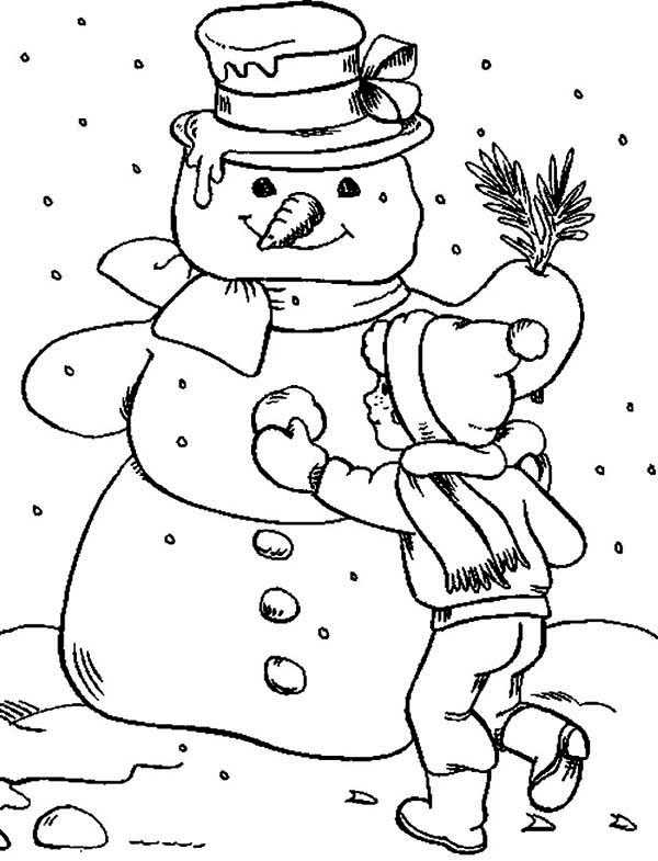 Making Snowman Coloring Page: Making Snowman Coloring Page