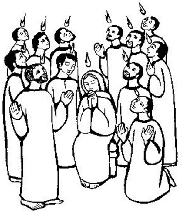Maria and the Apostles of Jesus Praying in Pentecost
