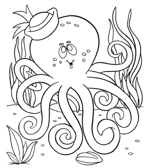 Octopus with Sailor Hat Coloring Page: Octopus with Sailor