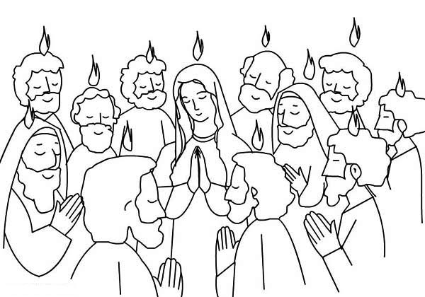 Pentecost Praise Jesus and Holy Spirit Coloring Page