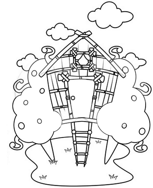 Treehouse Drawing Coloring Page : Color Luna