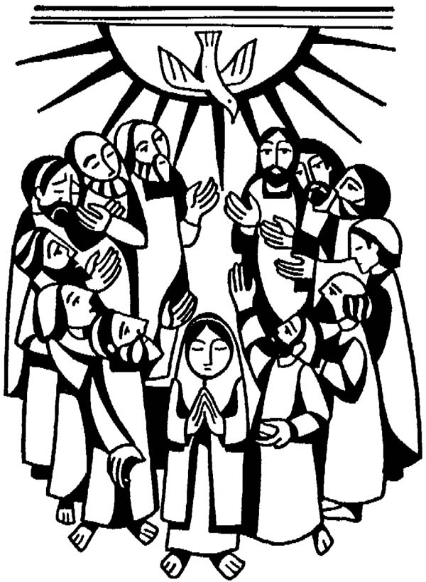 Virgin Maria and Apostles in Pentecost Coloring Page