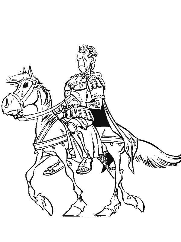 Julius Caesar Riding Horse in the Adventure of Asterix