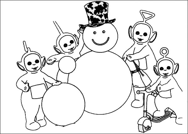 Awesome Snowman Made by the Teletubbies Coloring Page