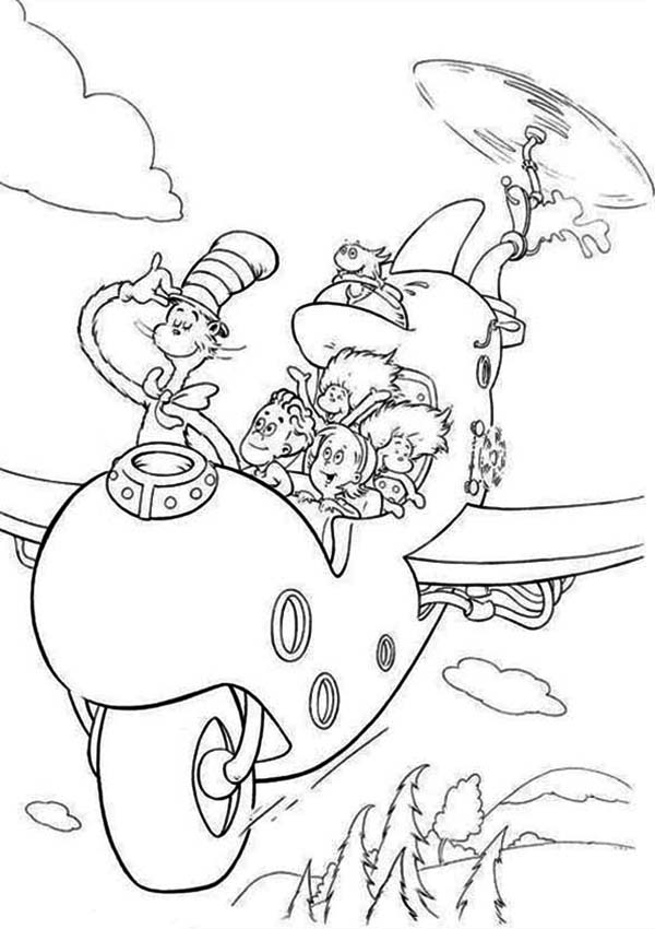 Dr Seuss The Cat in the Hat Flying with Wierd Airplane