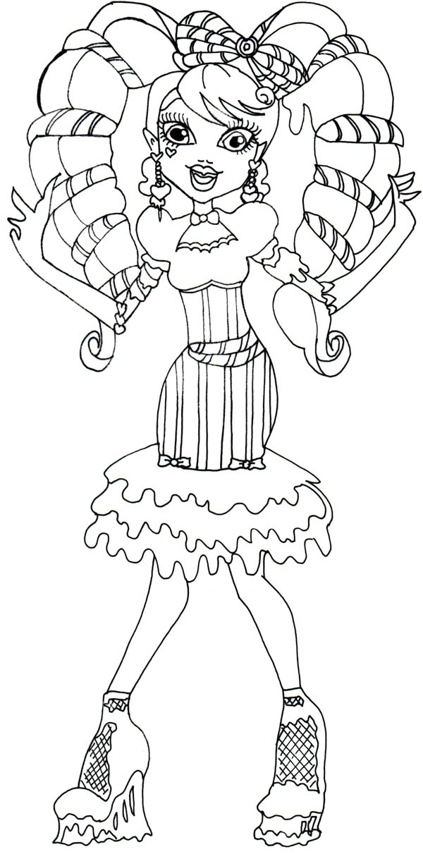 Draculaura Beautiful Hair in Monster High Coloring Page