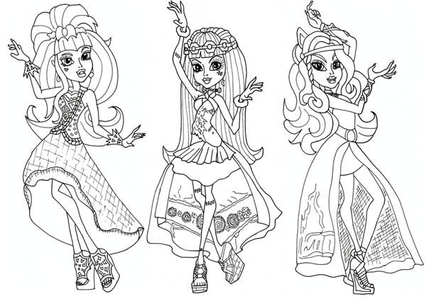 Draculaura and Friends in Dancer Clothes in Monster High